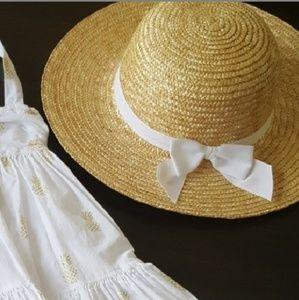Janie and jack 2 3 T sun hat straw mint